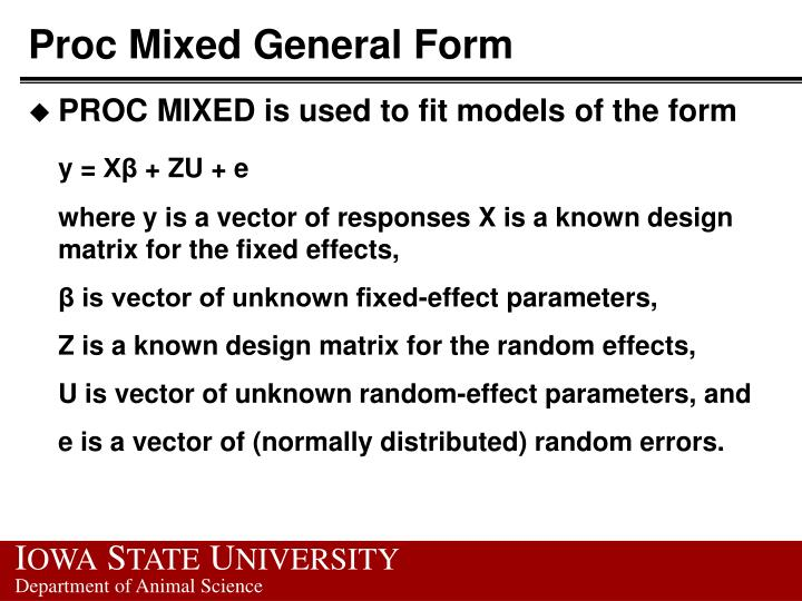 Proc Mixed General Form