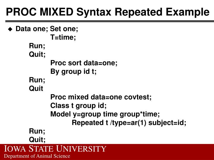 PROC MIXED Syntax Repeated Example