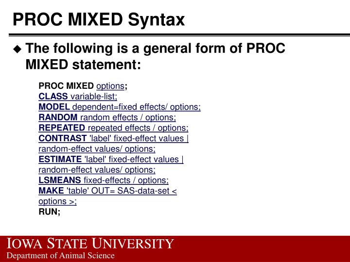 PROC MIXED Syntax
