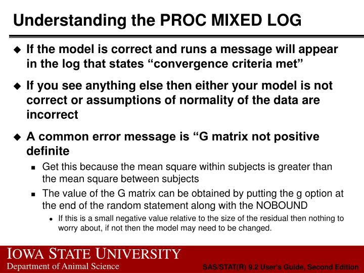 Understanding the PROC MIXED LOG