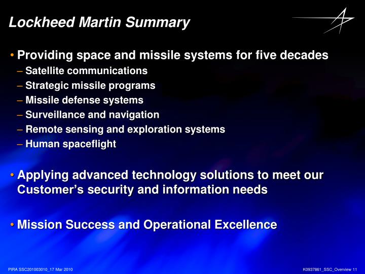 Lockheed Martin Summary
