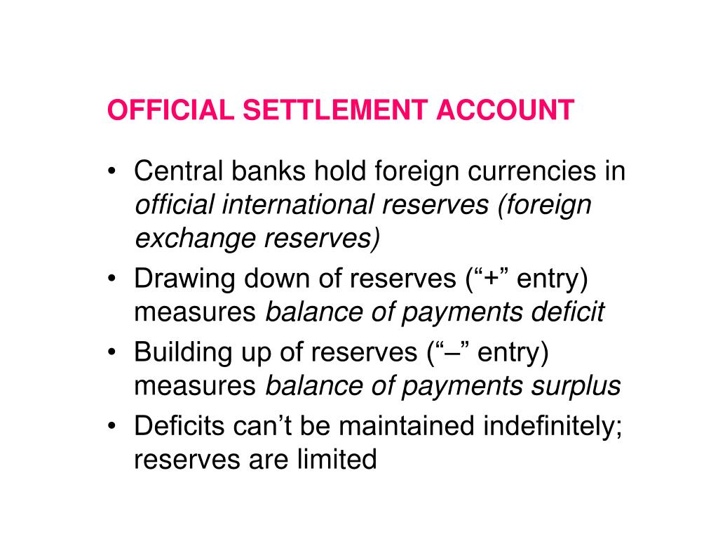 OFFICIAL SETTLEMENT ACCOUNT