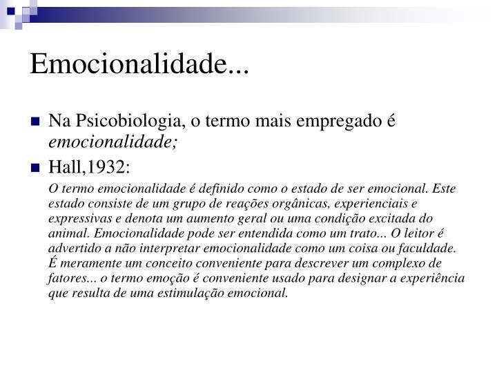 Emocionalidade...