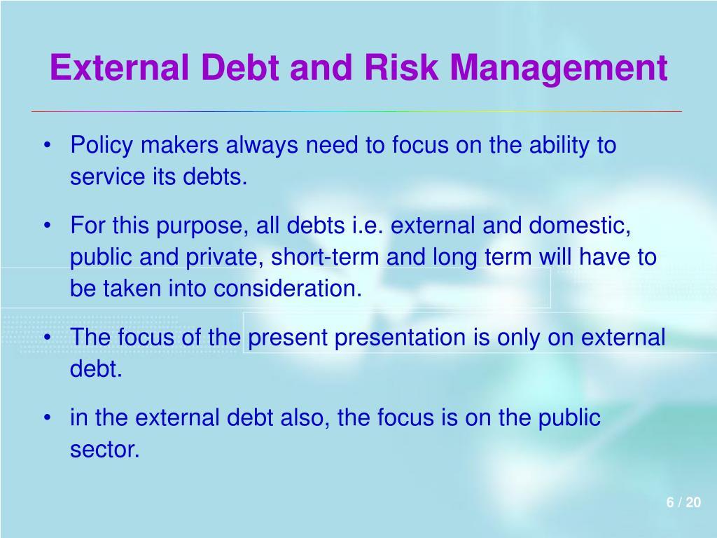 External Debt and Risk Management
