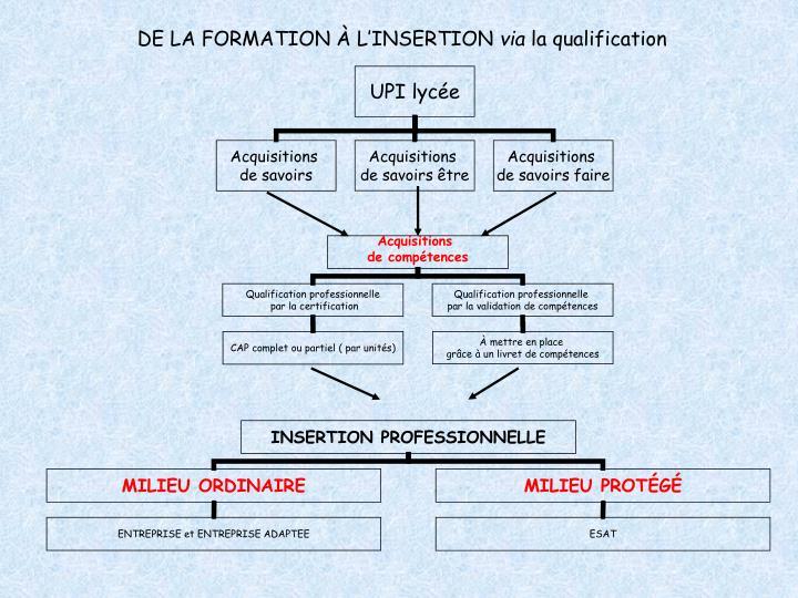 DE LA FORMATION À L'INSERTION