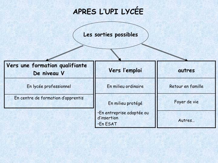 APRES L'UPI LYCÉE