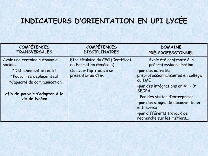 INDICATEURS D'ORIENTATION EN UPI LYCÉE