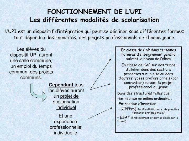 FONCTIONNEMENT DE L'UPI