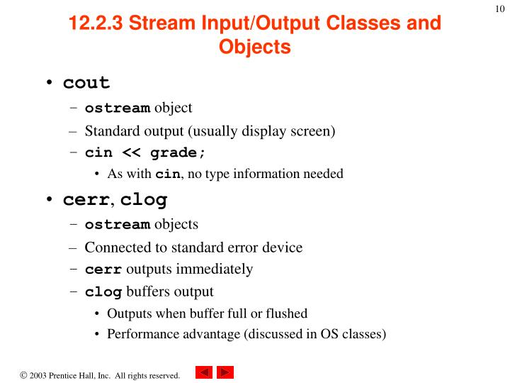 12.2.3 Stream Input/Output Classes and Objects