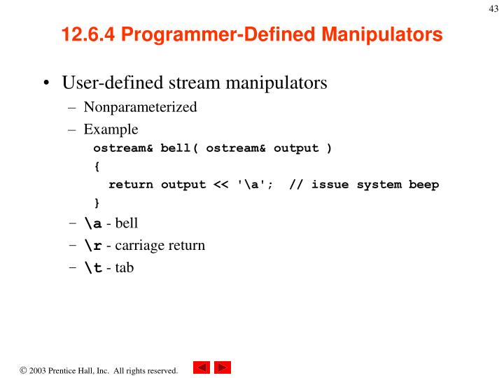 12.6.4 Programmer-Defined Manipulators