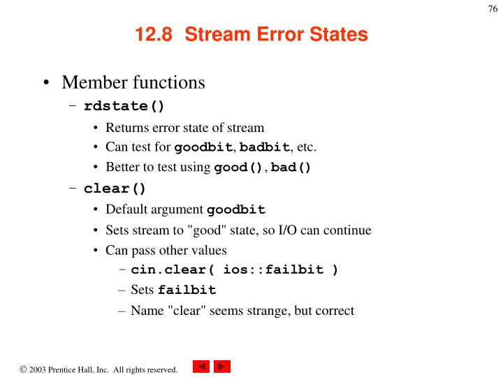 12.8  Stream Error States