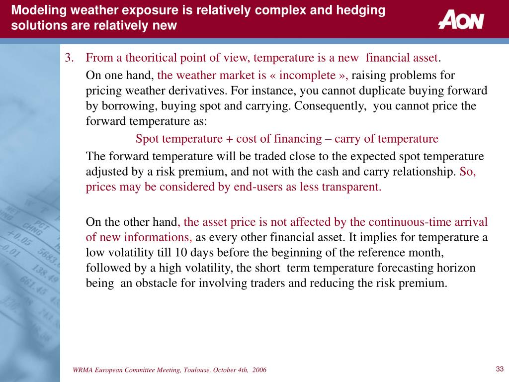 Modeling weather exposure is relatively complex and hedging solutions are relatively new