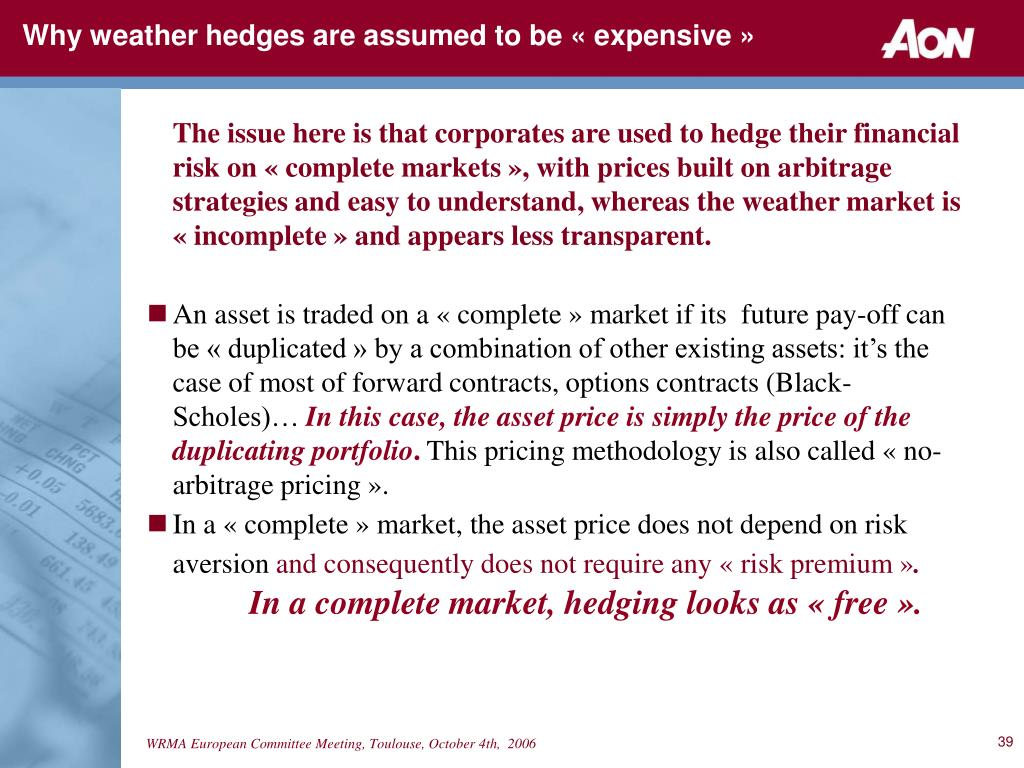 Why weather hedges are assumed to be « expensive »