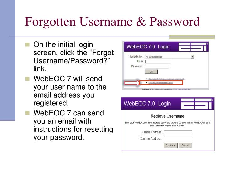 Forgotten Username & Password