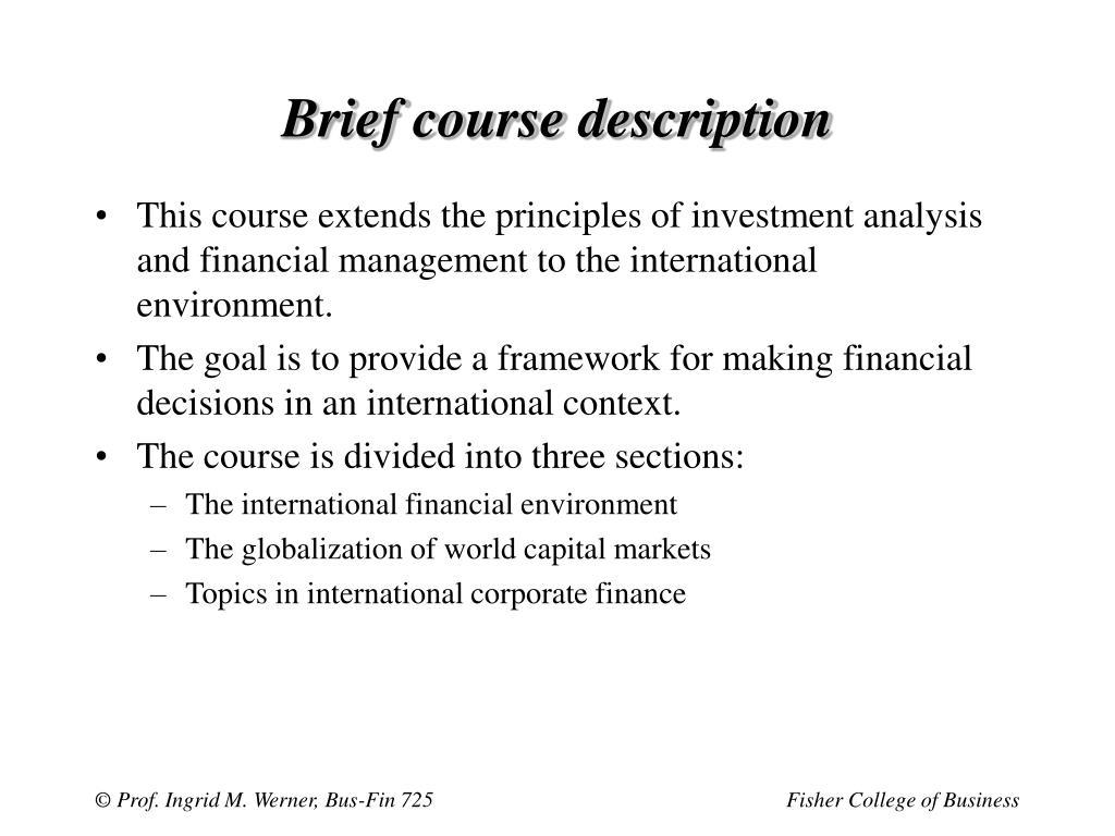 Brief course description