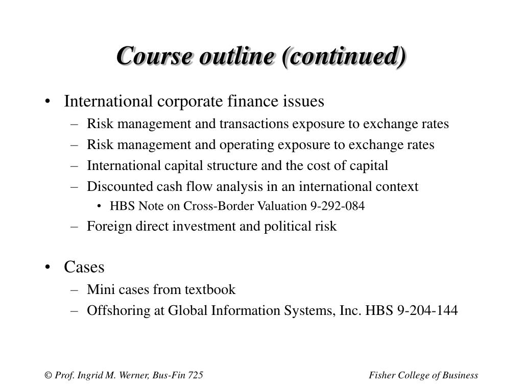 Course outline (continued)