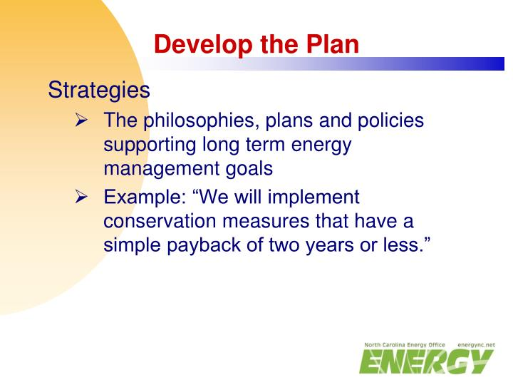 Develop the Plan