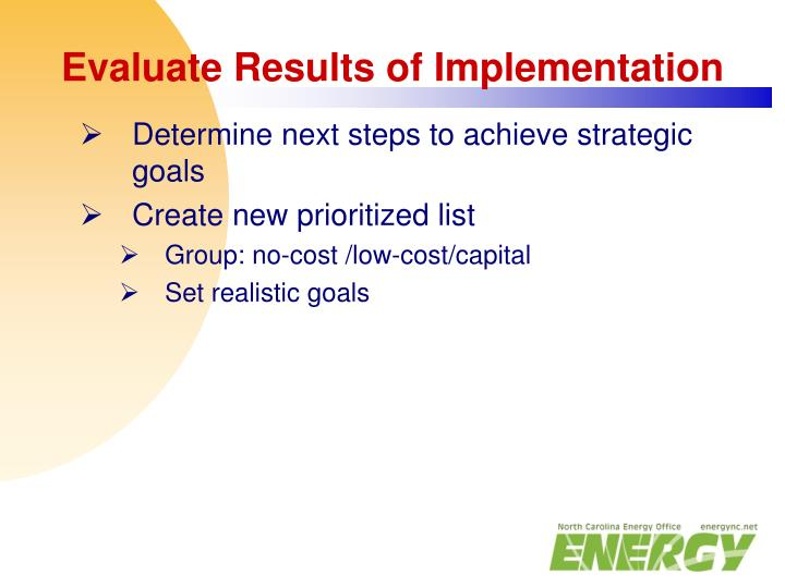 Evaluate Results of Implementation