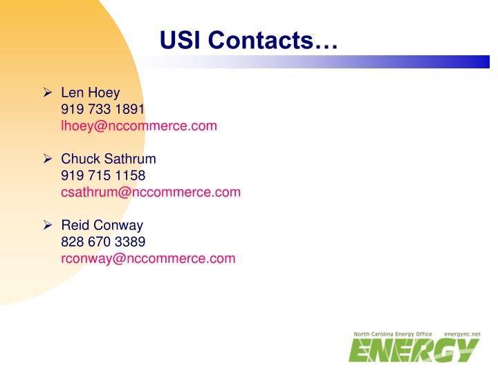 USI Contacts…