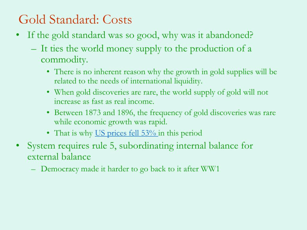 Gold Standard: Costs