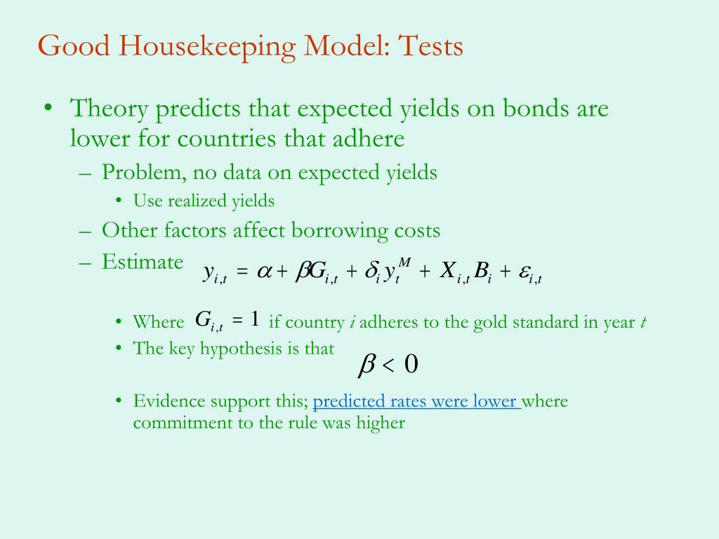 Good Housekeeping Model: Tests