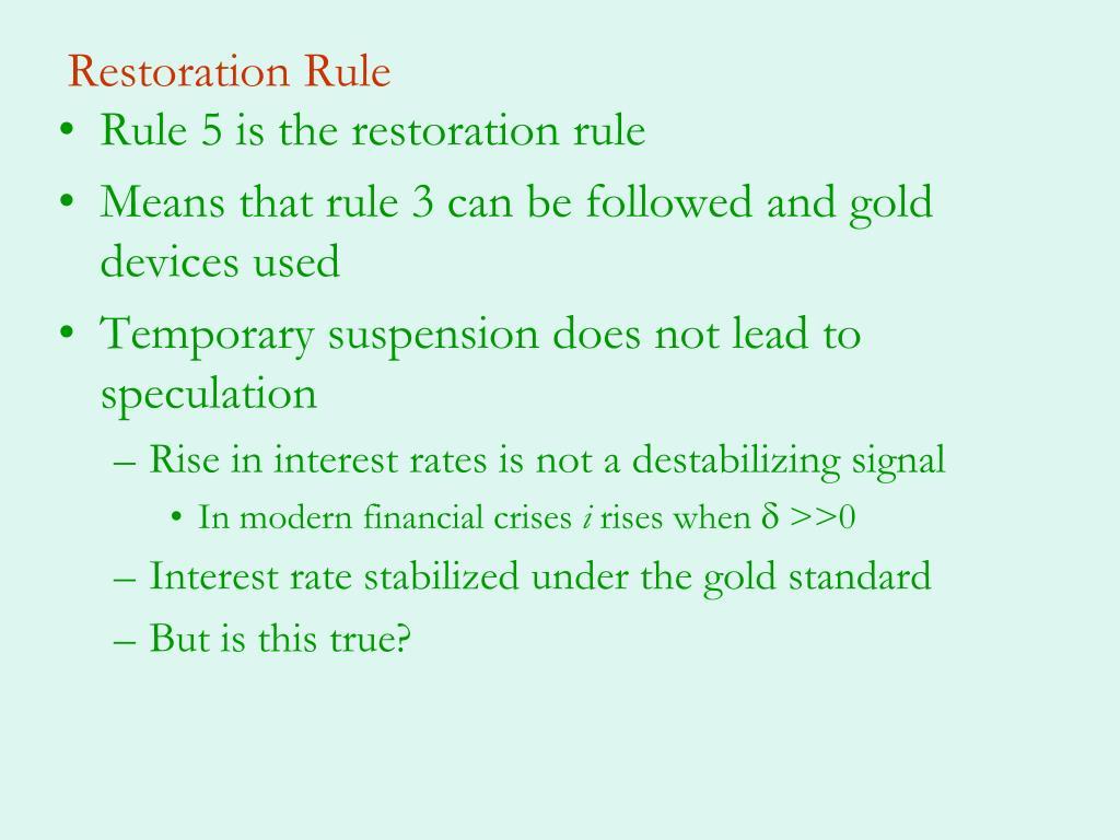 Restoration Rule