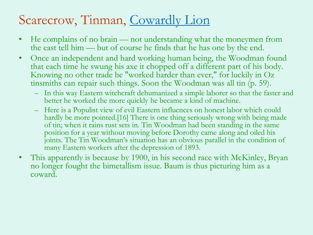 Scarecrow, Tinman,