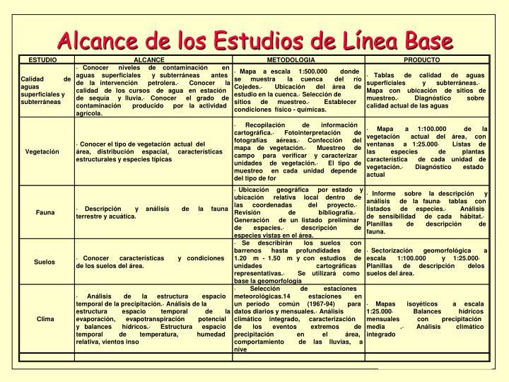 Alcance de los Estudios de Línea Base