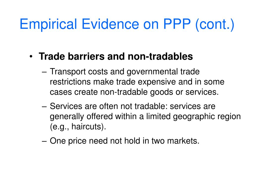 Empirical Evidence on PPP (cont.)
