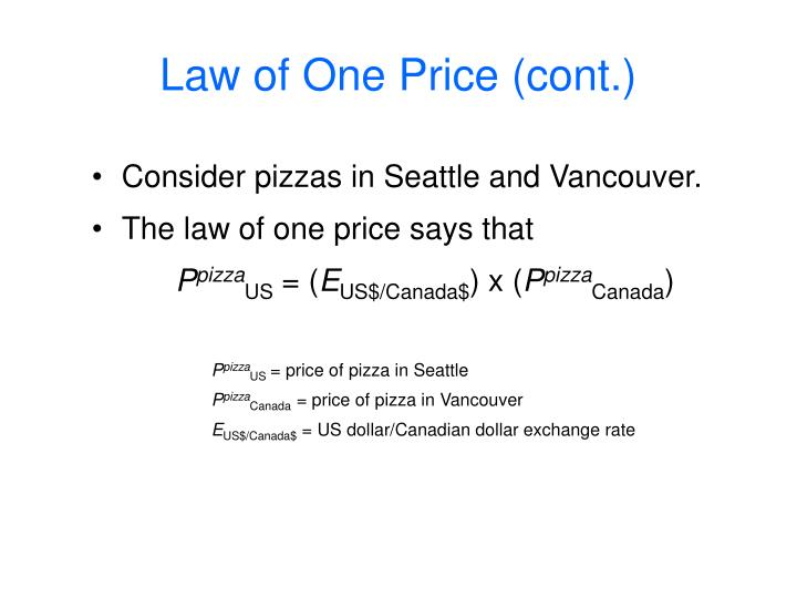 Law of one price cont