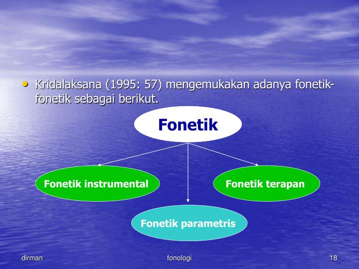 Kridalaksana (1995: 57) mengemukakan adanya fonetik-fonetik sebagai berikut.