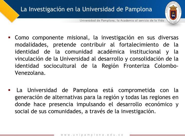 La Investigación en la Universidad de Pamplona