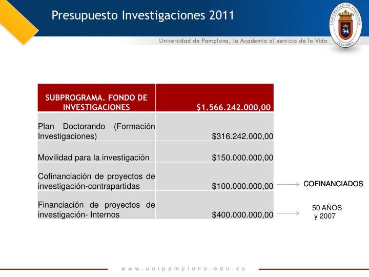 Presupuesto Investigaciones 2011