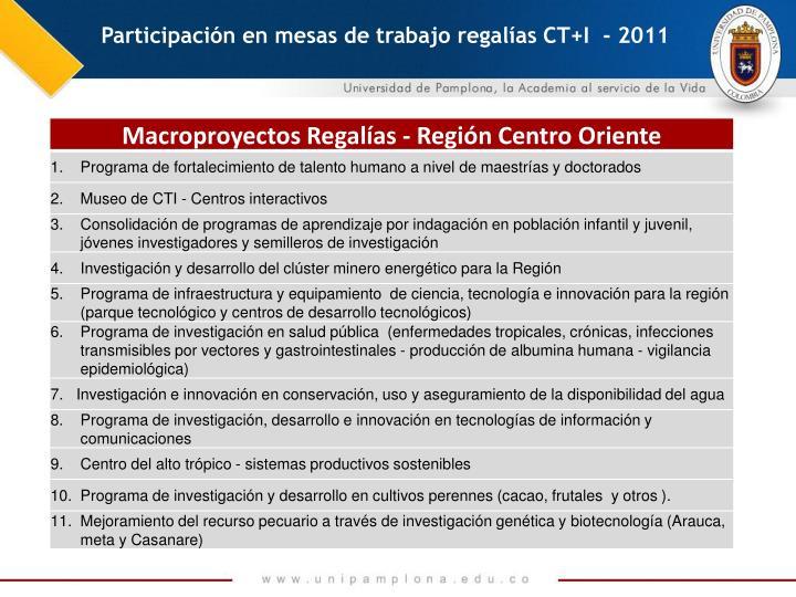 Participación en mesas de trabajo regalías CT+I  - 2011