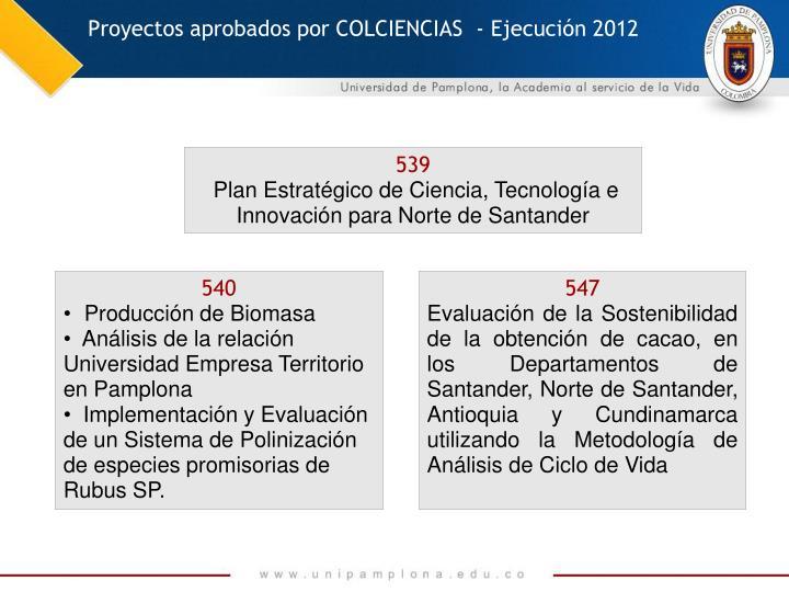 Proyectos aprobados por COLCIENCIAS  - Ejecución 2012