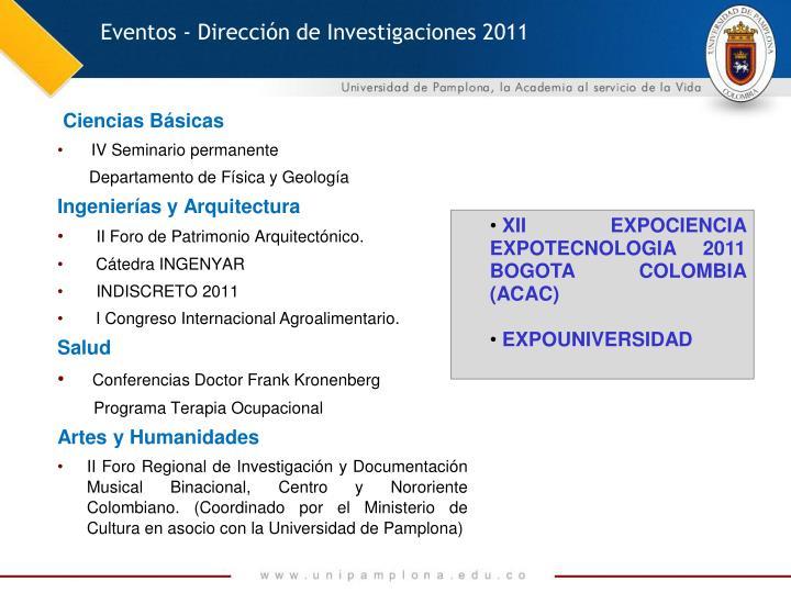 Eventos - Dirección de Investigaciones 2011