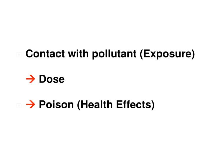 Contact with pollutant (Exposure)