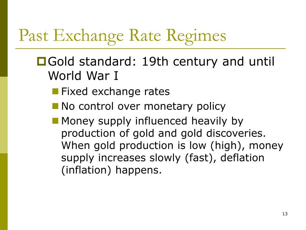 Past Exchange Rate Regimes