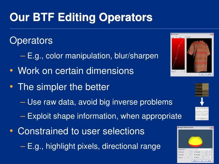 Our BTF Editing Operators