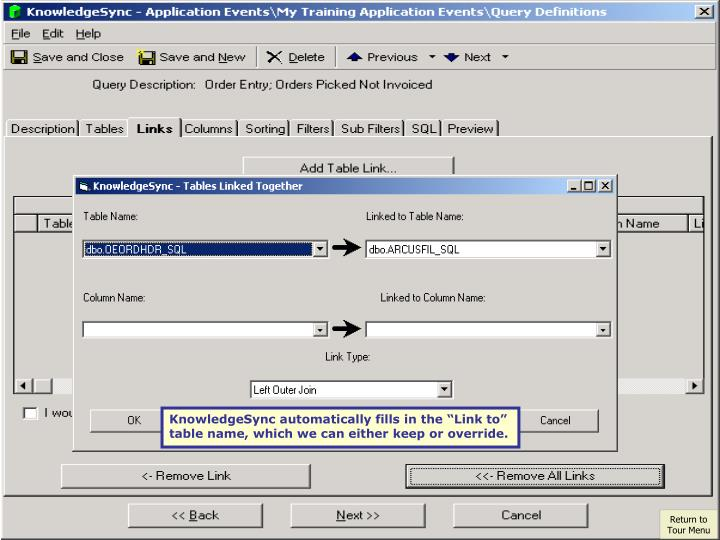 """KnowledgeSync automatically fills in the """"Link to"""""""