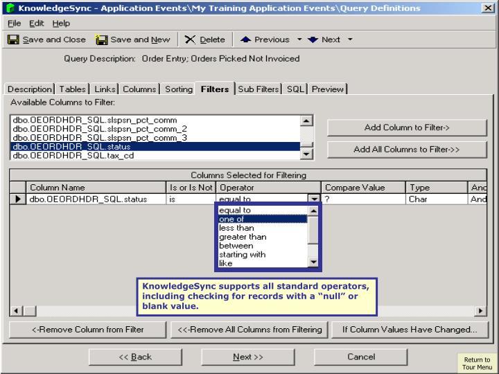 KnowledgeSync supports all standard operators,