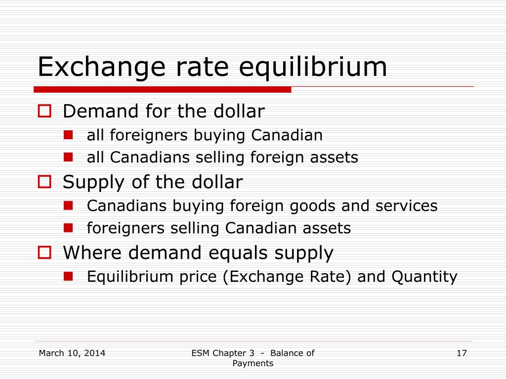 Exchange rate equilibrium