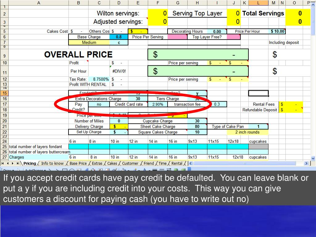 If you accept credit cards have pay credit be defaulted.  You can leave blank or put a y if you are including credit into your costs.  This way you can give customers a discount for paying cash (you have to write out no)