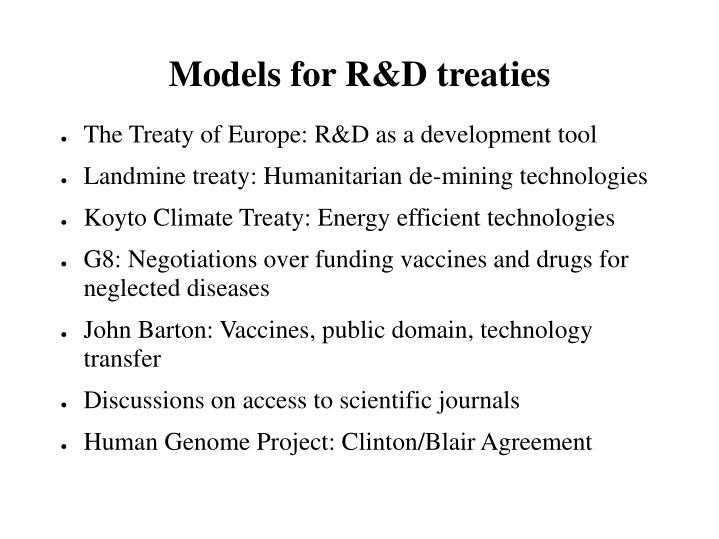 Models for R&D treaties