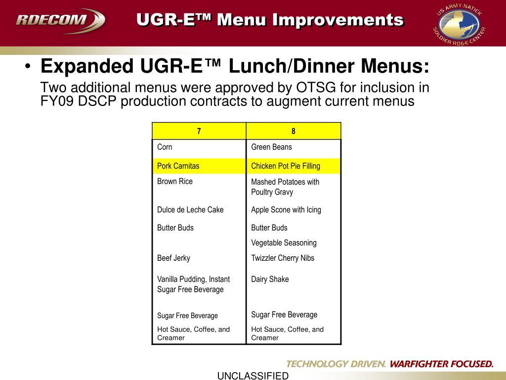 UGR-E™ Menu Improvements