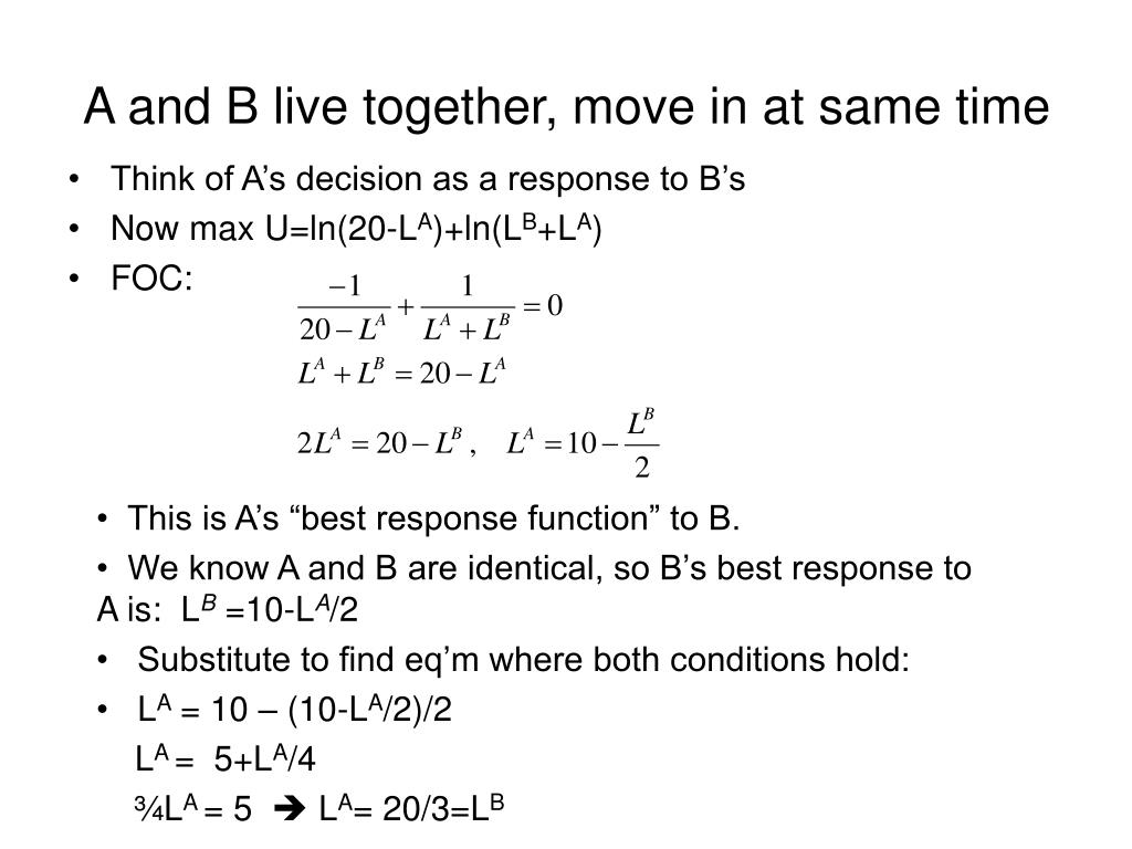 A and B live together, move in at same time