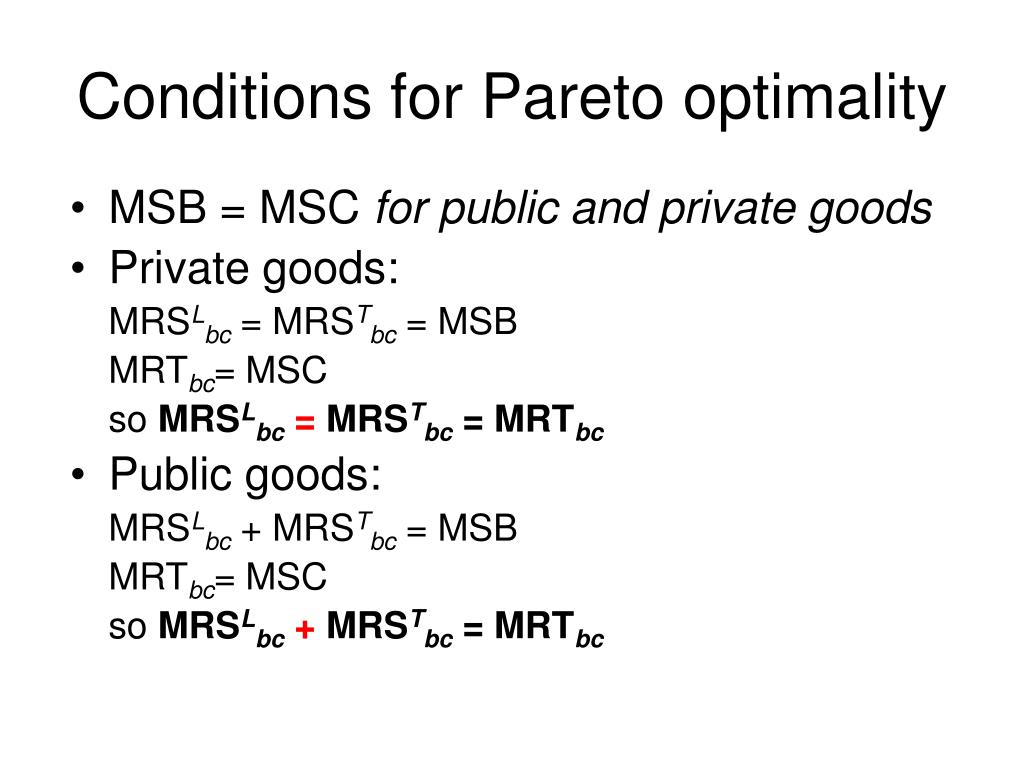 Conditions for Pareto optimality