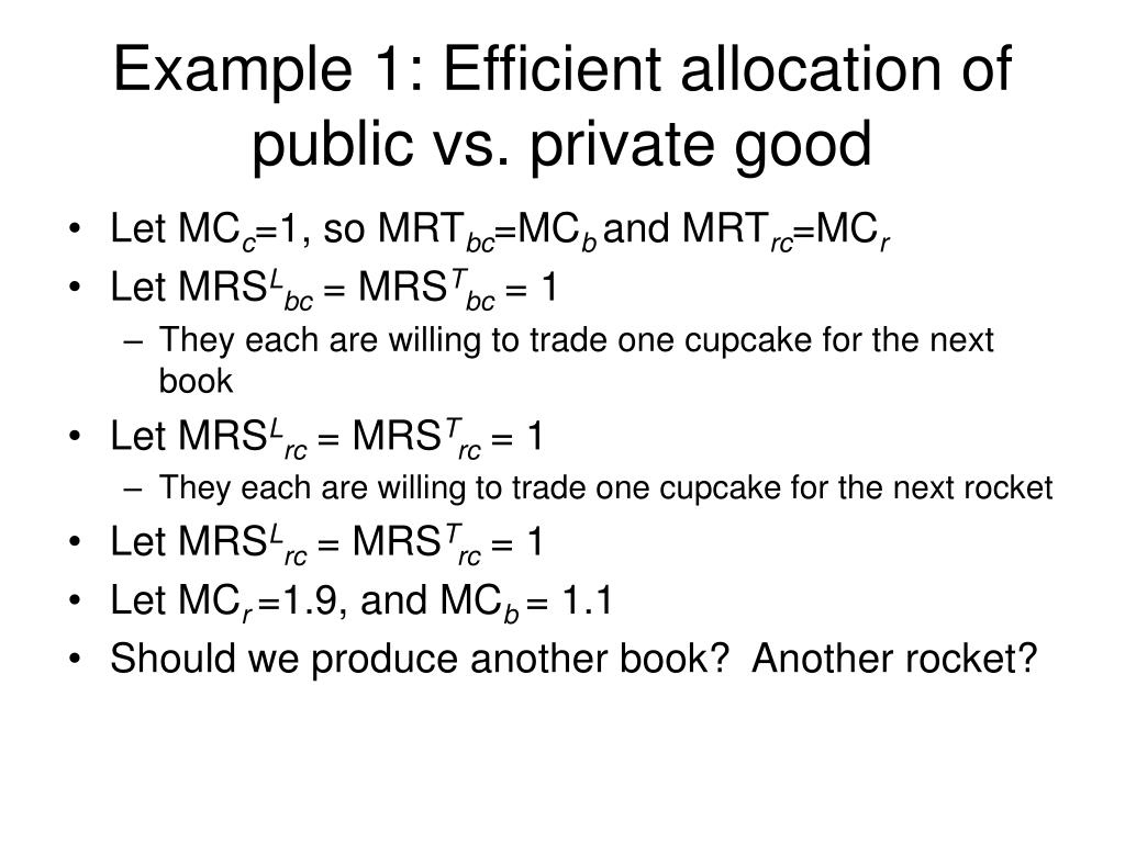 Example 1: Efficient allocation of public vs. private good
