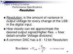 digital to analog converters performance specifications resolution
