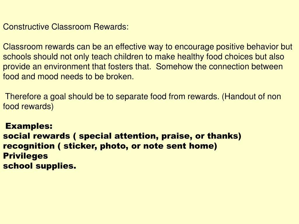 Constructive Classroom Rewards: